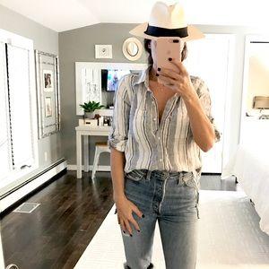 ATHLETA linen button down shirt blue stripe small
